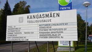 Skylt för Kangasmäki industriområde i Pyttis