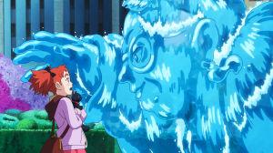 Kuva elokuvasta Mary ja noidankukka. Mary kohtaa nestemäisen taikahahmon.