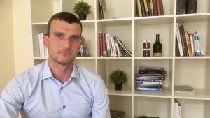 Juris Grišins på sitt kontor i Riga