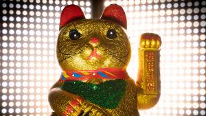 Kinesisk guldfärgad kattstaty som vinkar med ena tassen.