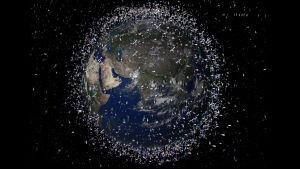 Havainnekuva avaruusromusta maapallon ympärillä