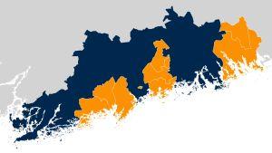 Karta som visar kommunerna i Nyland. Ingå och Sjundea går med med i Apotti.