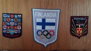Tygmärken som användes på idrottarnas kläder vid vinter-OS 1968 i Grenoble.