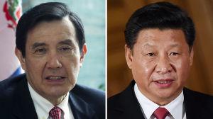 Taiwans president Ma Ying-Jeou (vänster) och Kinas president Xi Jinping (höger).