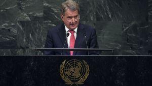 Sauli Niinistö håller tal i samband med generaldebatten vid Förenta nationernas 73:e generalförsamling