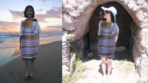 mekkoon pukeutunut nainen auringonvalossa ja varjossa