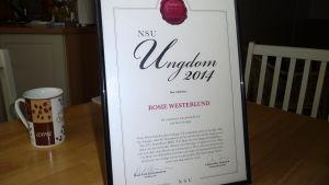 "diplom ""Ungdom 2014"" som NSU (Nylands svenska ungdomsförbund) tilldelade Rosie Westerlund"
