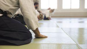 Aikido-treenaajat kumartavat istuallaan tatamilla.