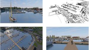 En svartvit skiss plus några låtsasfärgbilder över Norra hamnen i Ekenäs med nya bryggor och byggnader.