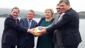 Ministrarna håller handen på en fotboll som har ett globalt hållbarhetsbudskap. Hav och fjäll i bakgrunden.