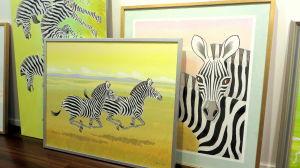 konstverk med zebror
