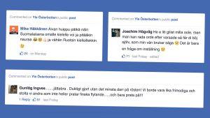 Skärmdumpar från Facebook med kommentarer om språkkunskaper