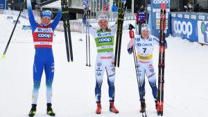 Tvåan Annamarija Lampic, segraren Linn Svahn och trean Jonna Sundling