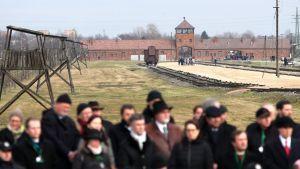 Förintelselägret i Auscwhitz på minnesdagen den 27 januari 2016.