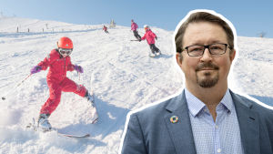 Bildmontage. I bakgrunden syns barn som skidar slalom. I förgrunden syns Mika Salminen inklippt.