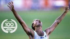 Valentin Kononen jublar i mål i VM 1995. Med logot för Finlands 100 största idrottsögonblick.