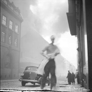 Ilmapommituksen tuhoja Helsingissä Fredrikinkadun ja Lönnrothinkadun kulmauksessa 30-11-39