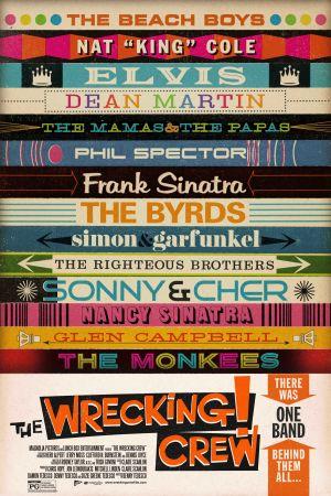 The Wrecking Crew. Dokumenttielokuva Los Angelesin legendaarisista studiomuusikoista. Elokuvan juliste.