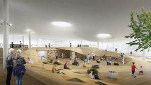 Konstruerad bild över hur centrumbibliotekets familjeavdelning kommer att se ut.