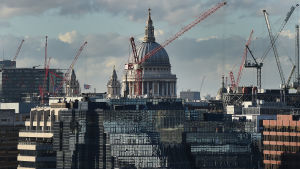Byggkranar runt St Pauls Cathedral i London i november 2014