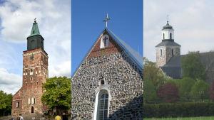 Åbo domkyrka, Pargas kyrka och Kimito Kyrka.