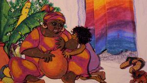 En ritad bild av en mormor som spelar på en trumma och ett barn som tittar på henne