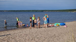 Barn förbereder sig för att gå i vattnet med simskoleledarna.