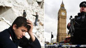 Montage av bild från London och Syrien