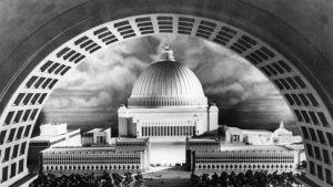 En svartvit modell av en kupolbyggnad.
