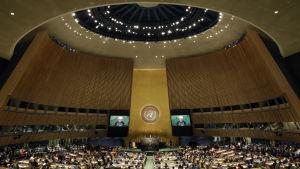 Irans president Hassan Rouhani talar inför FN