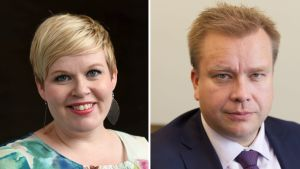Annika Saarikko till vänster och Antti Kaikkonen till höger