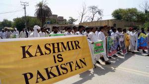 Protester mot Indiens hävande av Kashmirs autonomi