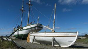 Replika av livbåten James Caird som Shackleton seglade till Sydgeorgien med