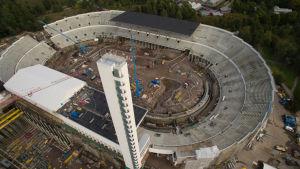 ilmakuva, Olympiastadion remontissa 15.9.2017