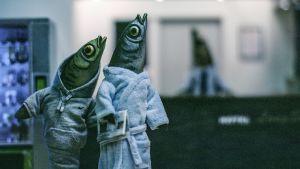 Kaksi kalaa aamutakeissa. Kuva animaatiomusikaalista Taakka.
