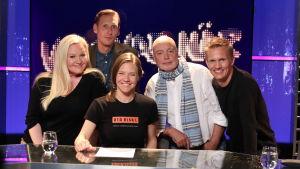 Ständiga lagkaptenerna Pekka Strang och Kasper Ramström gästas av Lotta Backlund och Erik Wahlström, programledare Sonja Kailassaari.