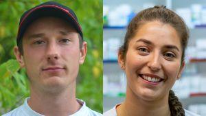 Fotomontage. Två porträttbilder är hopfogade, till höger en man med keps och till vänster en leende kvinna.