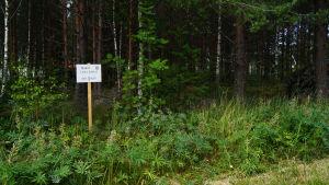 Myyntikyltti tyhjällä metsätontilla