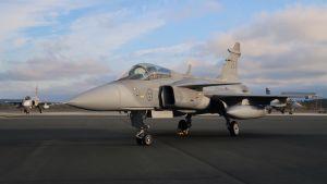 Svenska flygvapnets JAS 39 Gripen deltog i operationsövningen Ruska 20 vid Lapplands flygflottilj i Rovaniemi, oktober 2020.