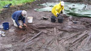 Träkonstruktioner har hittats utanför raseborgs ruiner.