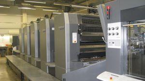 Elektronisk tryckpress på Ekenäs Tryckeri som inte behövs mera då tryckeriet går i konkurs och stänger.