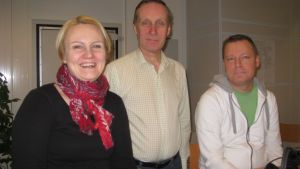 Linnéa Henriksson (SFP), Peter Björklöf (FKP) och Marko Reinikainen (De gröna).