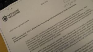 Brevet Mårten Johnasson skickade till Lojo stadsstyrelse.