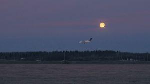 ett kvällsflyg lander i Vasa.