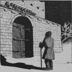 Mies katsoo portintornin harjalle, jossa on ihmisten päitä.