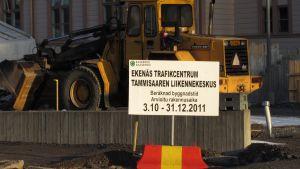 Trafikcentrumet i Ekenäs under byggnad. Bilden från april 2012.
