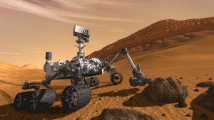 En skiss av Curiosity på Mars