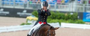 Storbritanniens OS-mästare Charlotte Dujardin kom trea i VM-2018 i USA med hästen Mount St John Freestyle.