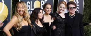 Mariah Carey, America Ferrera, Natalie Portman, Emma Stone och Billie Jean King inför Golden Globe 2018.