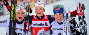 Maiken Caspersen Falla, Ingvild Flugstad Östberg, Krista Pärmäkoski, tour de Ski 2018.